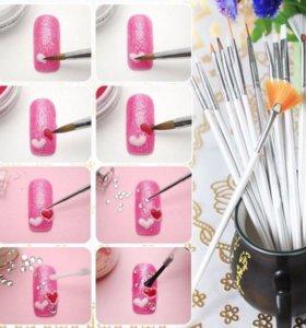 Кисти для Nail Art рисунков на ногтях 15 шт. Набор