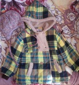 Пальто с шапкой и варежками