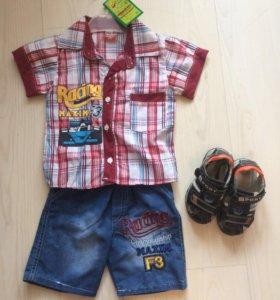 Летний комплект: шорты и рубашка (Новый) 92 см