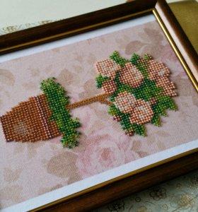 Вышивка бисером-розы