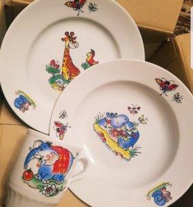 Наборы детской посуды. 3 предмета в коробке