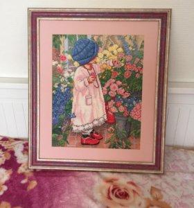 Картина девочка в саду ручная работа
