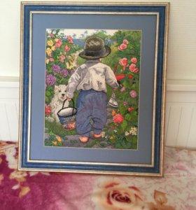 Картина мальчик в саду ручная работа