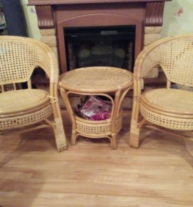 2 кресла и столик из ротанда