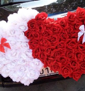 Свадебные сердца на автомобиль