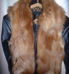 Куртка и жилетка из лисы натуральный мех