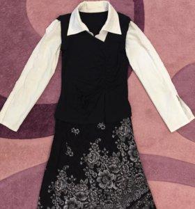 Комплект: юбка и блузка, размер 42