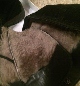 Ботинки из замши и натурального меха