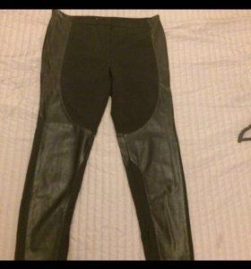 Брюки с кожаными вставками Zara