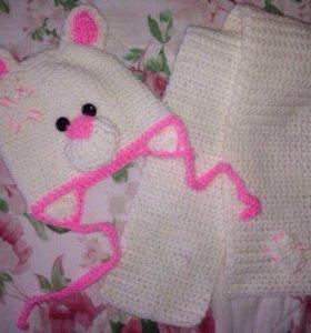 Набор мишка шапка и шарф новые 42-44 см
