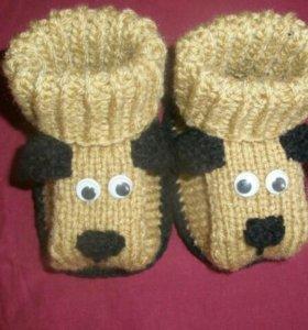 Вязаные пинетки носочки для детей