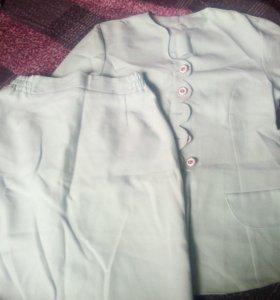 Костюм юбка и пиджак жакет бирюзовый