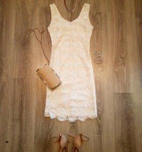 Белое платье пайетки ( можно как свадебное)