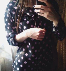 Блуза в розовый горошек