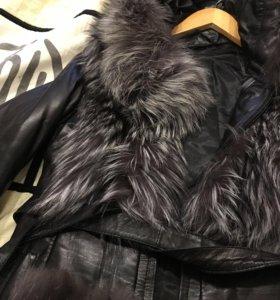 Куртка- жилетка из меха чернобурки и пальто