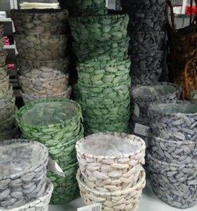 Плетеное кашпо в ассортименте