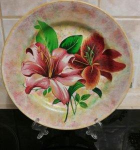 тарелка в стиле декупаж