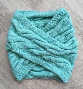 Мятный шарф снуд