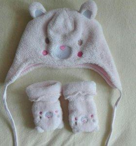 Шапочка и варежки Mothercare
