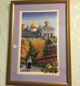 "Картина вышивкой ""дорога к храму"""