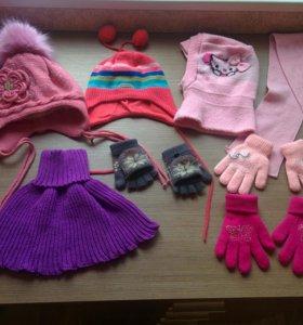 Шапки, перчатки на девочку 5-7 лет