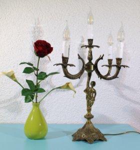 Старинный бронзовый канделябр на пять ламп