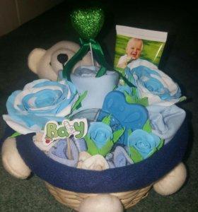 Подарок на рождение ребенка(бэби-букет)