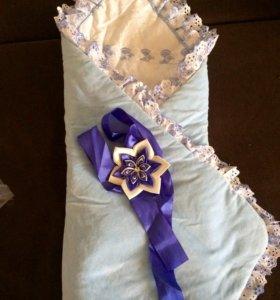 Одеяло для выписки с бантом