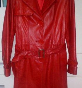 Кожаная куртка-пальто