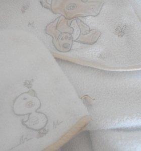 Детское полотенце с уголком и варежка для мытья
