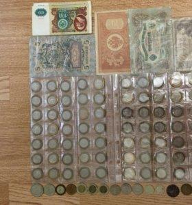 10 рублей биметалл, сов. рубли, банкноты.