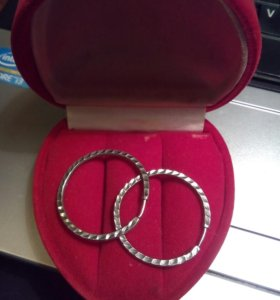 Серьги - кольца, серебро 2. 5 см