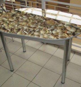 Лотос Ракушки овальный раскладной Обеденный стол