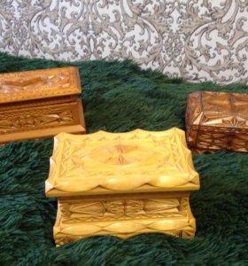 Шкатулки деревянные