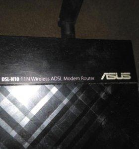 Adsl модем asus dsl-n10 в рабочем состоянии.