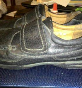Школьные туфли-мокасины, кожа полностью, р. 37-38