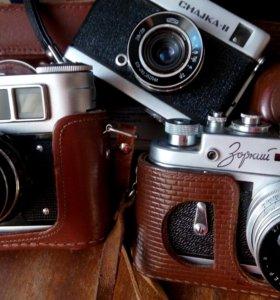 Три фотоаппарата немного бу фэд4 зоркий4 чайка2 с