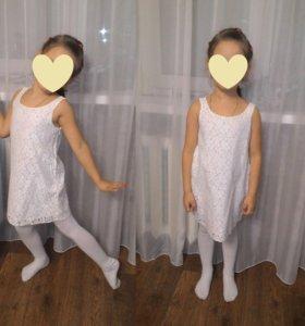 Платье белое Oodji kids на рост 116 из кружева