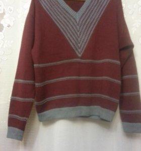 Джемпер свитер шерстяной бордовый р. 56-58