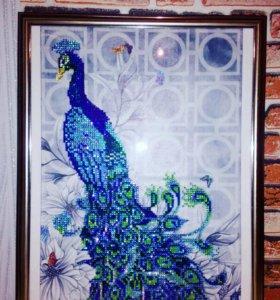 Алмазная мозаика.Павлин.Готовая картина