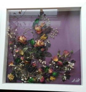 Картины из цветов на заказ