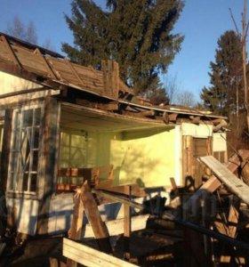 Демонтаж дома, стены, пола, стяжки. проемы.