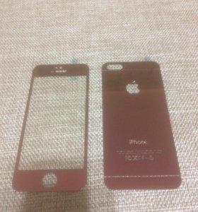 Цветные защитные стекла на iPhone 5 5s 5se