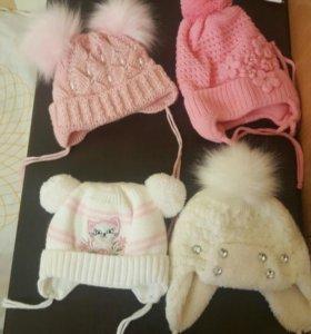 Зимние шапочки для девочки до года