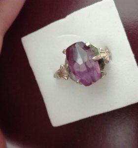 Старинное кольцо серебро аметист
