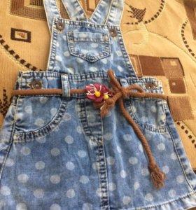 Джинсовая юбочка-комбинезон на девочку