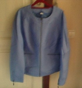 Куртка кож зам 52р новая цвет ярко голубой
