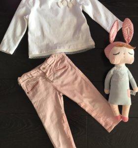 🌸 Zara комплект лонгслив + джинсы+подарок 🎁