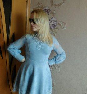 Платье замшевое голубое