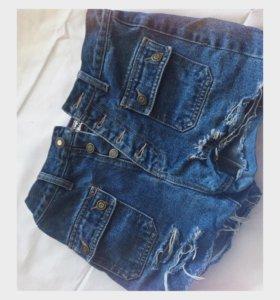 Шорты джинсовые, ручной работы